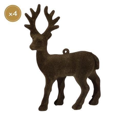Panacea Set of 4 12cm Reindeer, Brown
