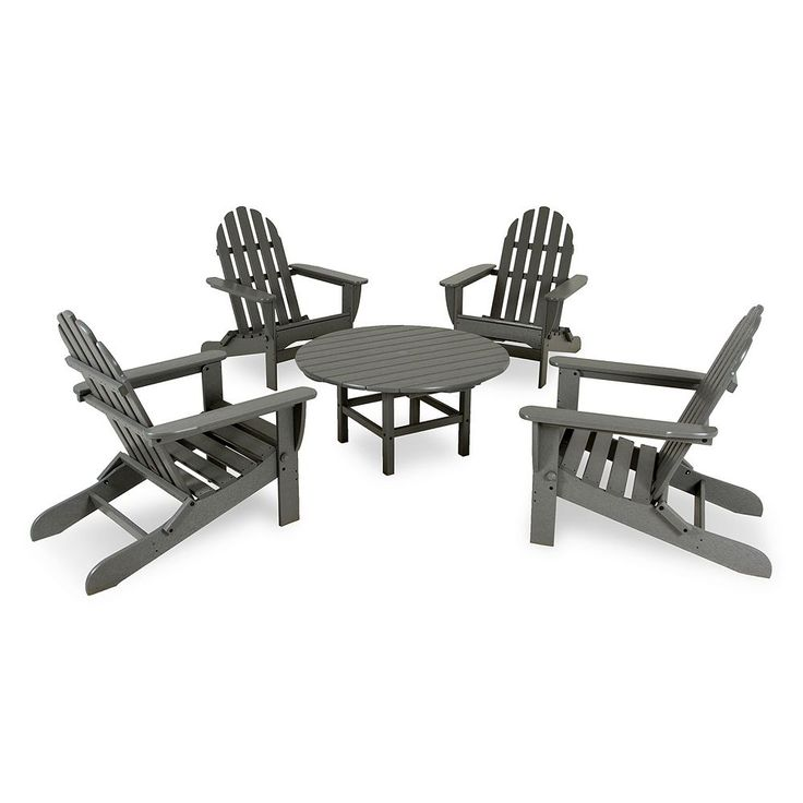 POLYWOOD 5-pc. Classic Folding Adirondack Chair and Table Set - Outdoor, Grey
