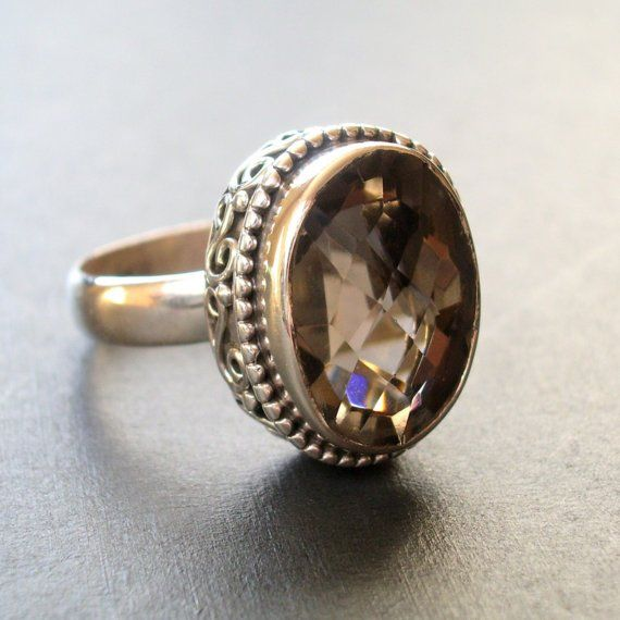 Sterling silver ring with smoky topaz and beaded filigree frame detail