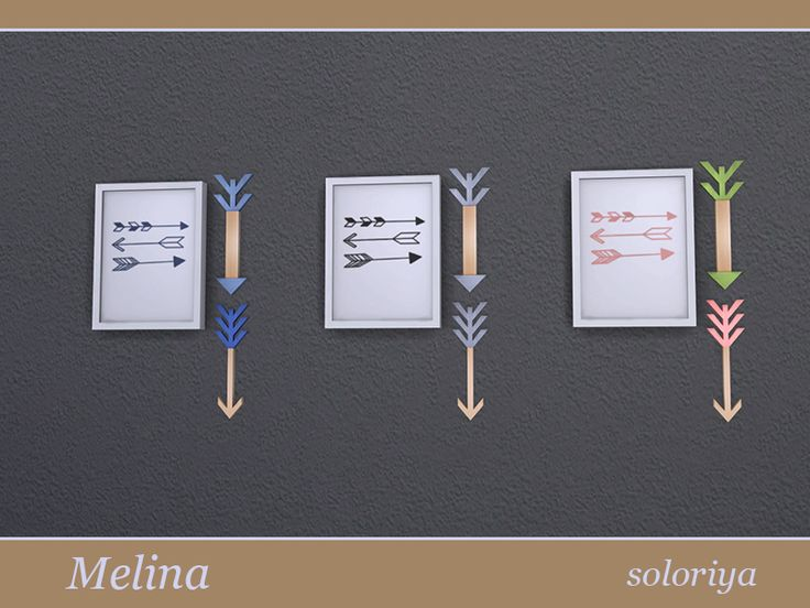 Painting with two decorative arrows. Part of Melina Living Room set. 3 color variations. Category: Decorative - Paintings.  Found in TSR Category 'Sims 4 Paintings & Posters'