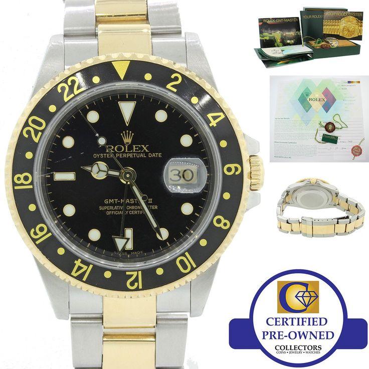 2002 Rolex GMT-Master II 16713 Y Two-Tone Gold Steel Date Black SEL Watch B&P