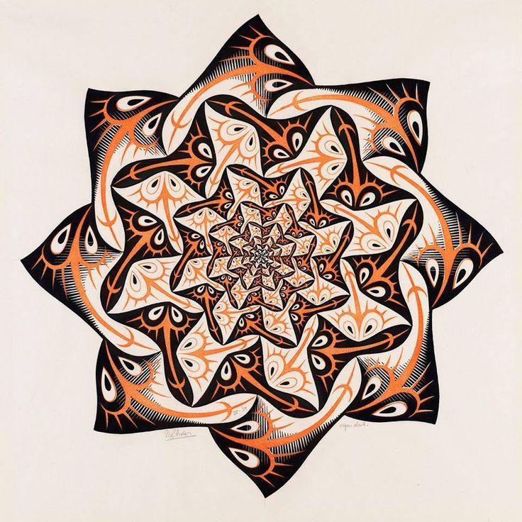 In maart 1958 maakt Escher een achthoekige houtsnede met als titel Levensweg I. Pijlstaartroggen zwemmen rond in cirkels die steeds kleiner worden naarmate het hart van de compositie nadert. Het werk past in een serie waarin de graficus met steeds kleiner of juist groter wordende figuren de begrippen eeuwigheid en oneindigheid onderzoekt.