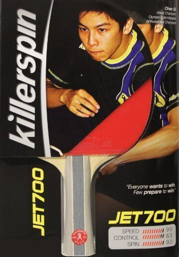 Killerspin Jet 700 Table Tennis Paddle by Killerspin. $89.99. The Killerspin Jet 700 is created for the serious competitor. Comprised of a 7-ply all-wood blade along with high-end tournament approved rubbers, this racket provides the highest level of spin and control. The Jet 700 has a large sweet-spot to help get that perfect shot and is finished with a strip of wooden side tape which focuses energy toward the ball. Designed as an all-around offensive racket, the Jet 700 wi...