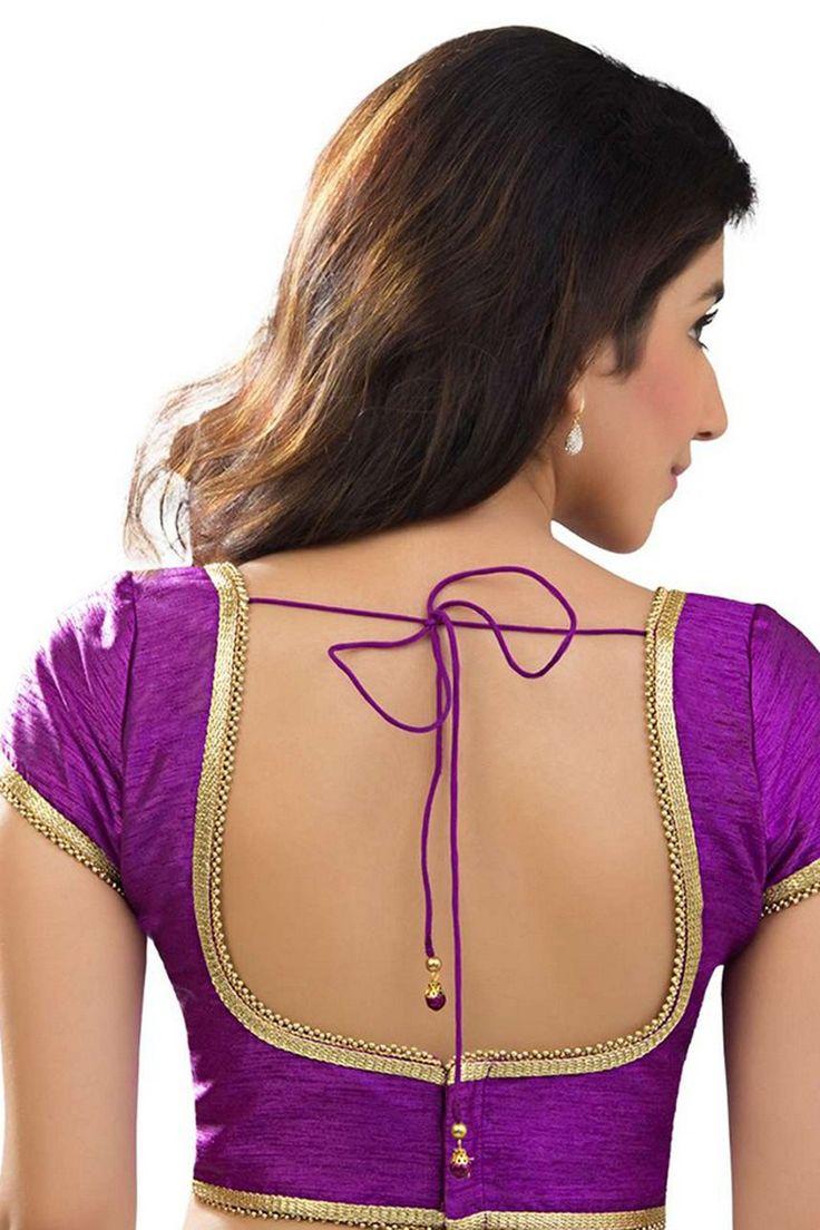 #Purple designer raw #silk elegant #blouse with cap sleeves -BL752