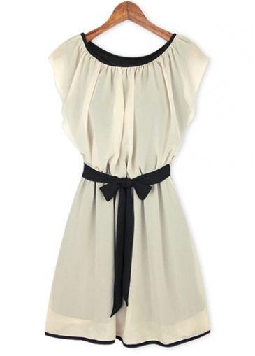 Brief Round Neck Cap Sleeve A Line Dress