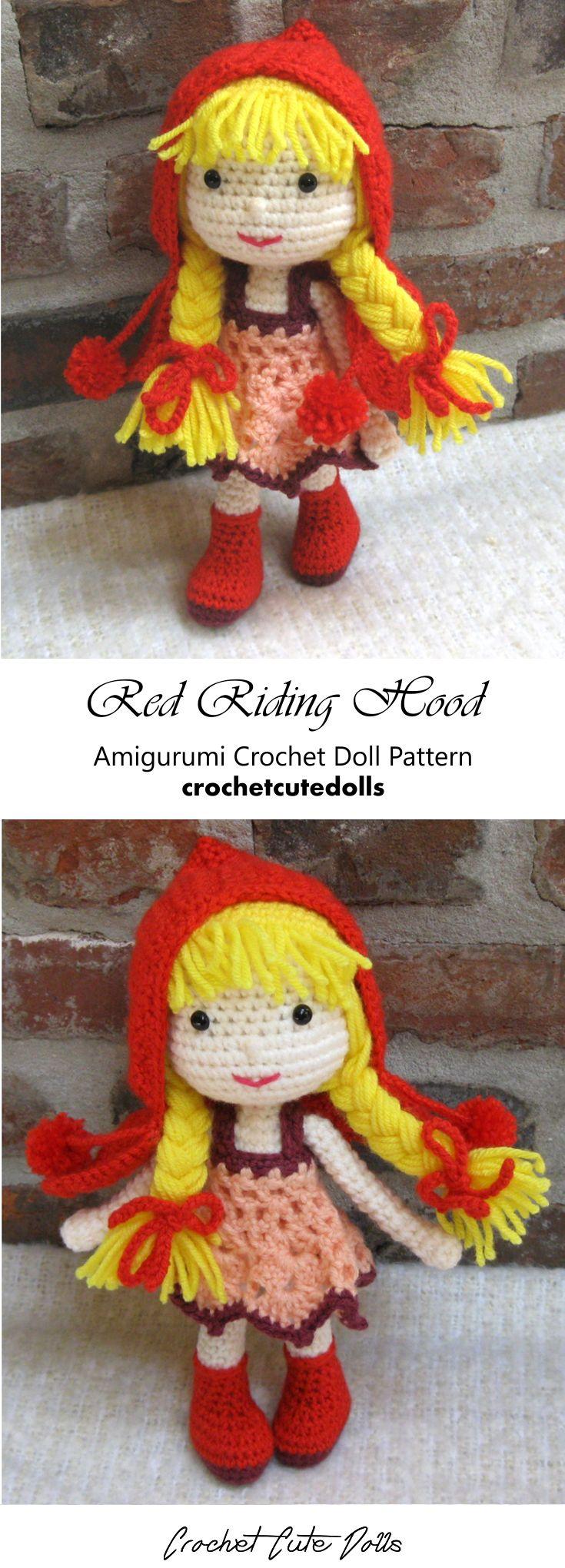 Amigurumi Crochet Doll Pattern & Tutorial for the cute Red Riding Hood doll by Crochet Cute Dolls