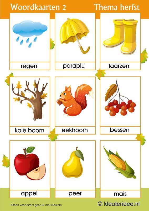 Woordkaarten 2 voor kleuters, thema herfst, juf Petra van kleuteridee,  free preschool printable.