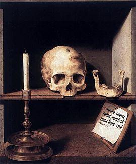Vanité, thème baroque, 1524. Huile sur toile de Bartholomaeus Bruyn le Vieux. Nature morte représentant la vanité, représentation allégorique de la mort.