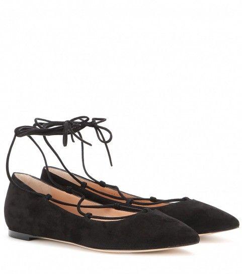 Ballerine nere - Ballerine nere dalla collezione di scarpe Gianvito Rossi primavera estate 2016.