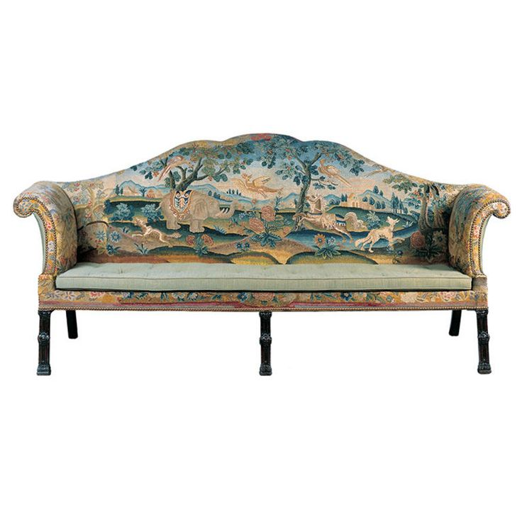 Rare George III Sofa with Embroidered Upholstery, English, ca. 1765-1775. It is rare to find a period sofa covered with 18th century needlework especially depicting animals. The form of the sofa with scrolled arms and carved blind-fret Chippendale legs are also strong attributes.
