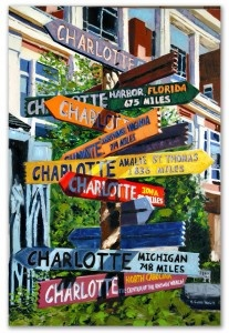 """Center of the Known World 36×24 Oil on Canvas.      In beautiful downtown Charlotte, NC on The Green, there are these very colorful directional signs pointing in the direction of different places in the US and the World and how many miles to that destination from Charlotte. The last sign reads """"Center of the Known World"""" and to all those who live in Charlotte, it definitely fits that description.    Sold."""