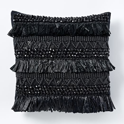 Rafia Fringe Pillow Cover - Black | west elm