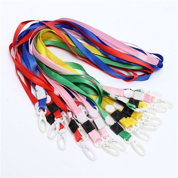 S, 20Pcs Neck Strap Lanyard With White Plastic Clip For ID Badge Holder Mixed Co