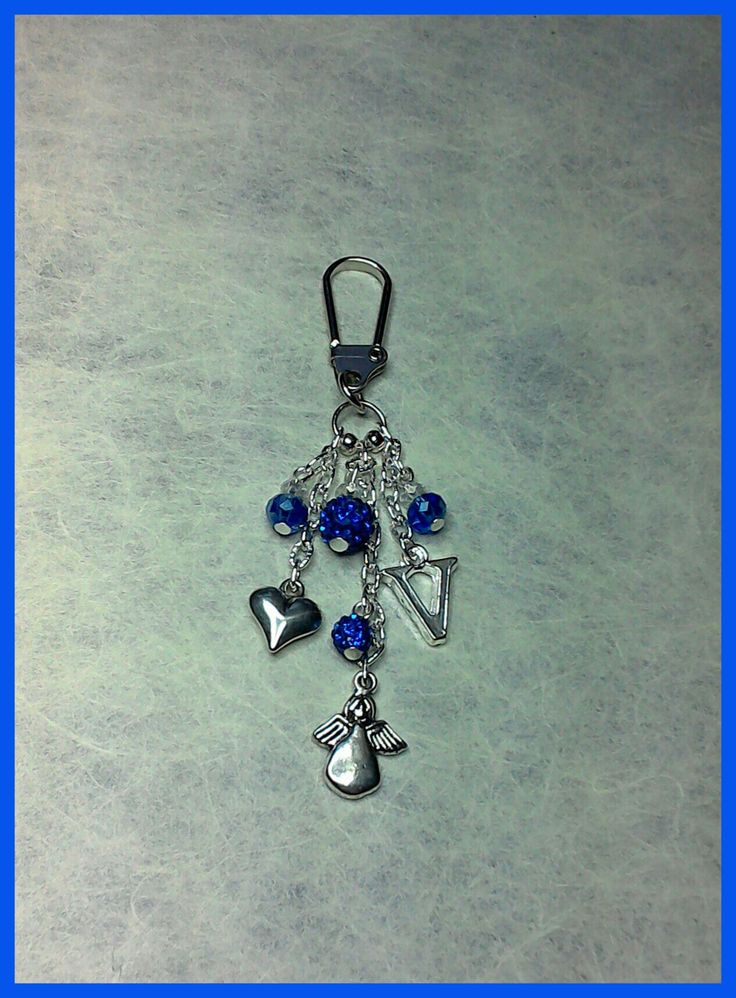 Bag charm/keyring using royal blue faceted glass & shamballa disco beads with heart, angel & letter charm