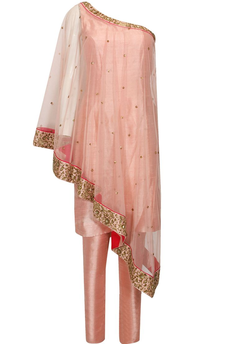 Blush pink dabka and sequins embroidered one shoulder cape and straight pants set available only at Pernia's Pop Up Shop.