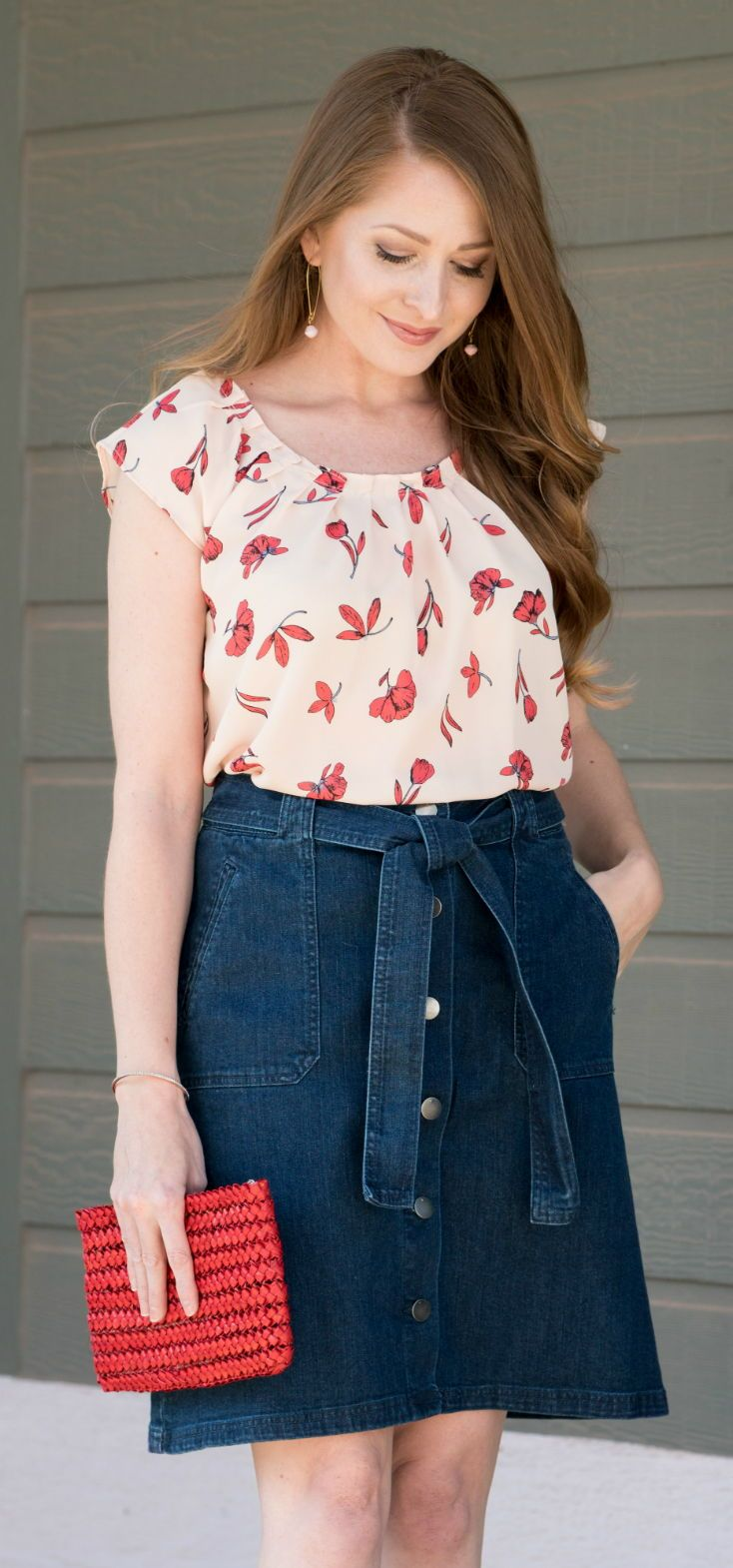 Denim Button Front Skirt / LC Lauren Conrad Floral Top / Spring Style / Fashion / Outfit Ideas