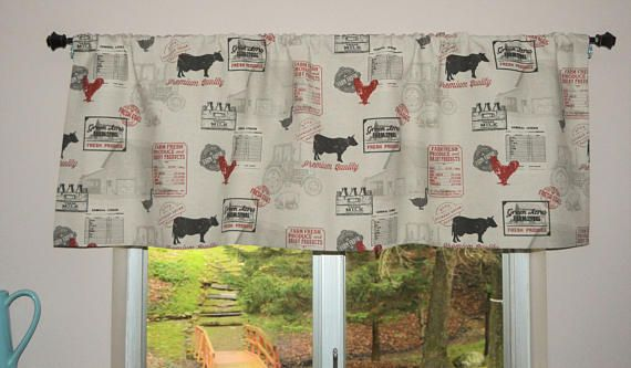 Farm Animal Valance Dairy Cow Rooster Pig Valance Barnyard Animals Valance Chicken Wire Red Farmhouse Country Cotton Valance w64
