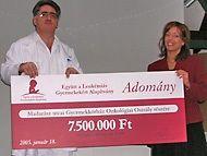2005. január 18-án az Együtt a Leukémiás Gyermekekért Alapítvány  a Madarász utcai Gyermekkórház onkológiai osztályának gyermekbarát komfortosítására 7.5 millió forintott adományozott. Alapítvány anyagi segítségét számtalan magánszemély és cég adománya tette lehetővé.