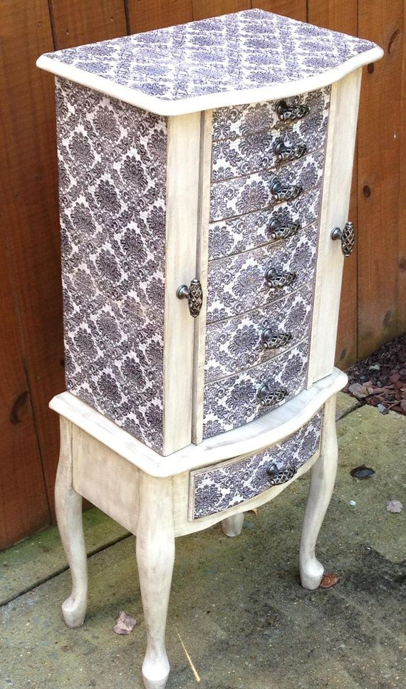 Damask Repurposed Jewelry Armoire Custom by ...