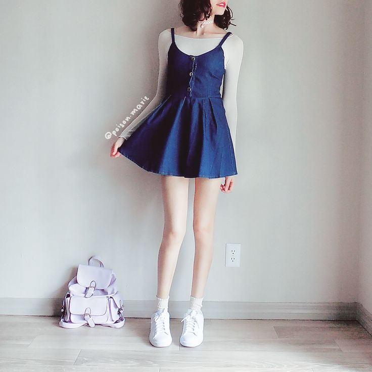 "poison-marie: "" Cute haul for the end of Summer ♡ IG Heart charm choker / Long-sleeved crop top / Denim jumper dress / Socks """