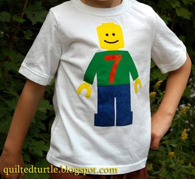 The Quilted Turtle: Lego Minifig Birthday Shirt | Free Applique Lego Minifig Pattern