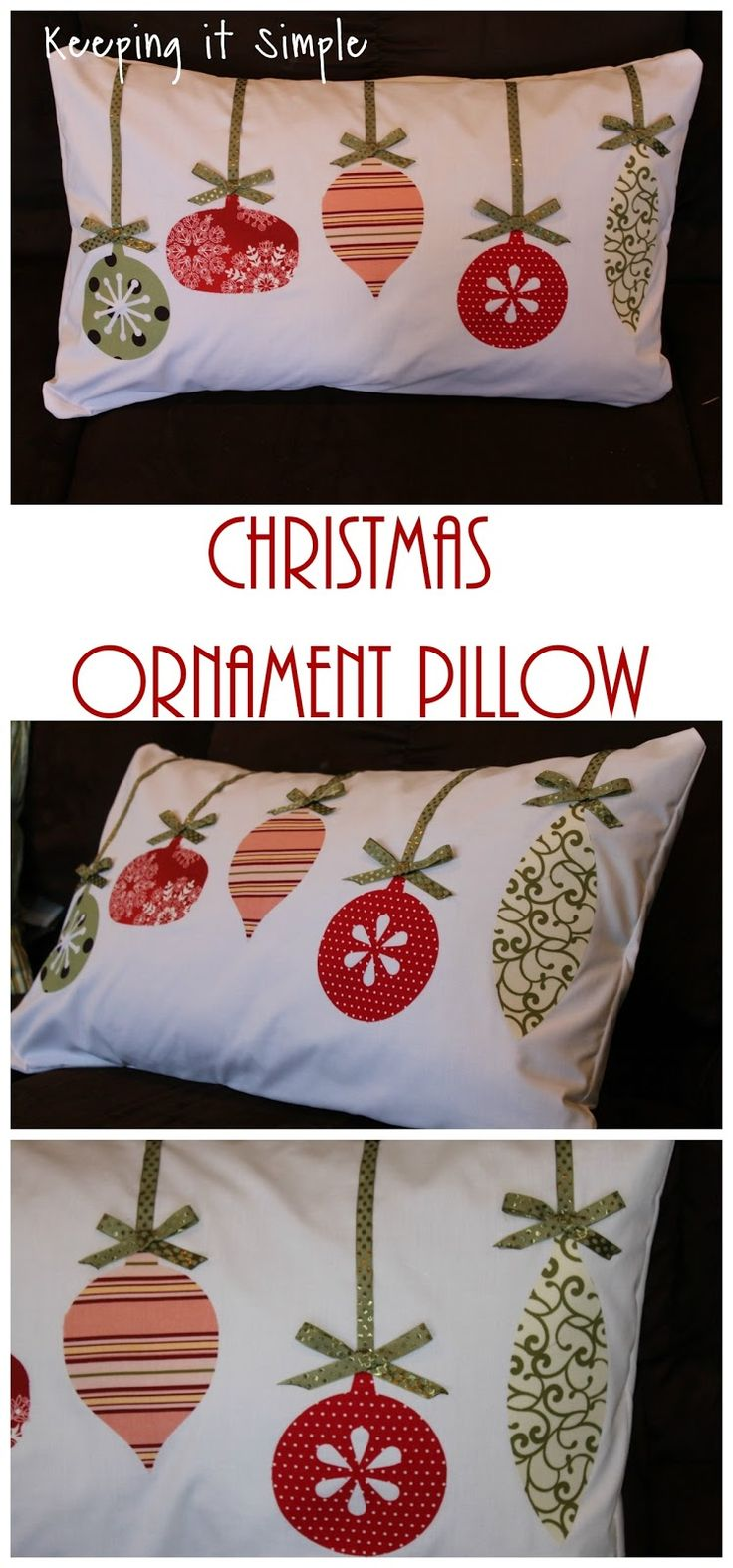 Christmas Pillow Idea- Fabricornament pillow Más
