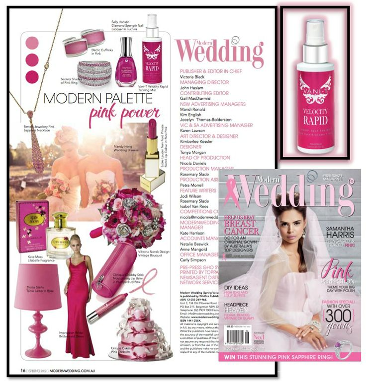 Vani-T Velocity Rapid is gracing the pages of ModernWedding Issue 56. Make sure your walk down the aisle is tanned to perfection and make like bridezilla to your nearest Beautician for Vani-T Spray Tan.