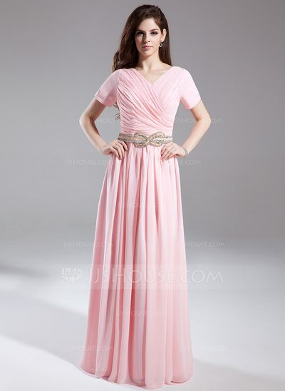 Holiday Dresses - $142.99 - A-Line/Princess V-neck Floor-Length Chiffon Holiday Dress With Ruffle Beading (020025940) http://jjshouse.com/A-Line-Princess-V-Neck-Floor-Length-Chiffon-Holiday-Dress-With-Ruffle-Beading-020025940-g25940?ver=0wdkv5eh