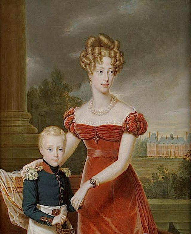 1828 Marie-Caroline de Bourbon-Sicile, Duchess de Berry with her son, Henri, Count of Chambord by François Pascal Simon Gérard.