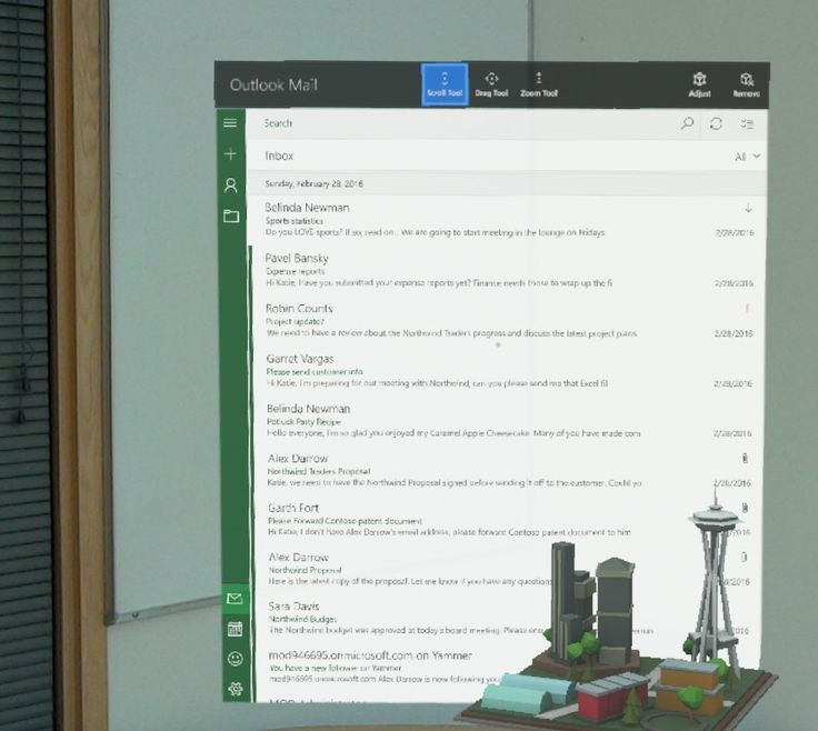 Today, we are thrilled to bring the first holographic email and calendaring apps, Outlook Mail and Calendar, to Microsoft HoloLens.