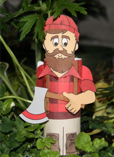 Paul Bunyan Day is June 28th.    Instructions and printable templates for a Paul Bunyan (lumberjack) toilet paper roll craft.