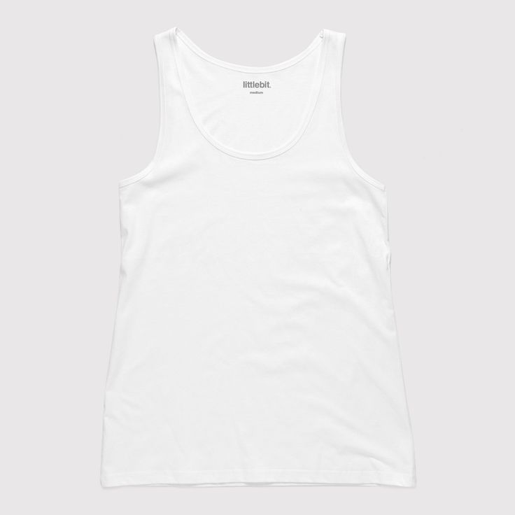 This perfect 100% cotton basic singlet can be worn all year round with jeans, shorts or that cute denim skirt. Available in white and black. Shop the #littlebit range of #womensclothing #womenstees #singlets #tees at littlebit.com/women.html.