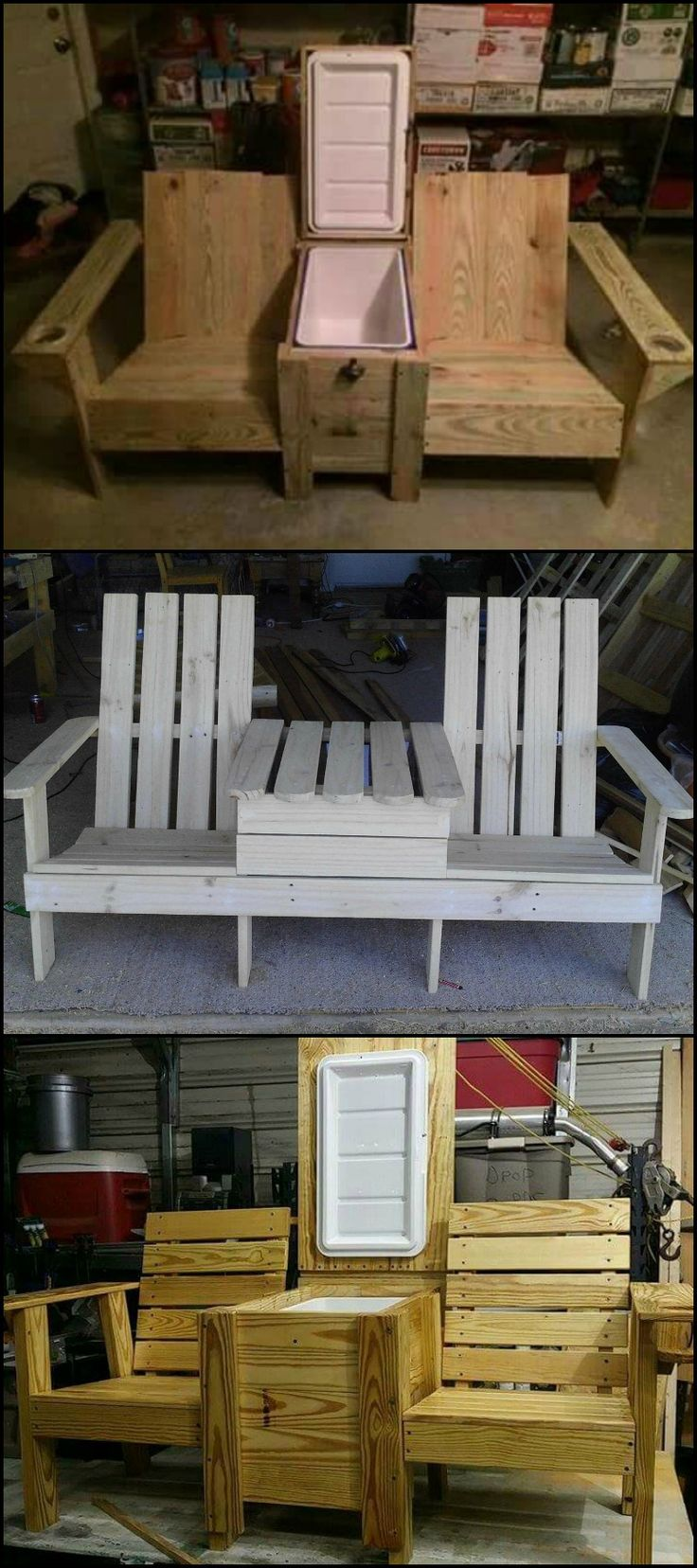 Garden bench with built in cooler box, table top.