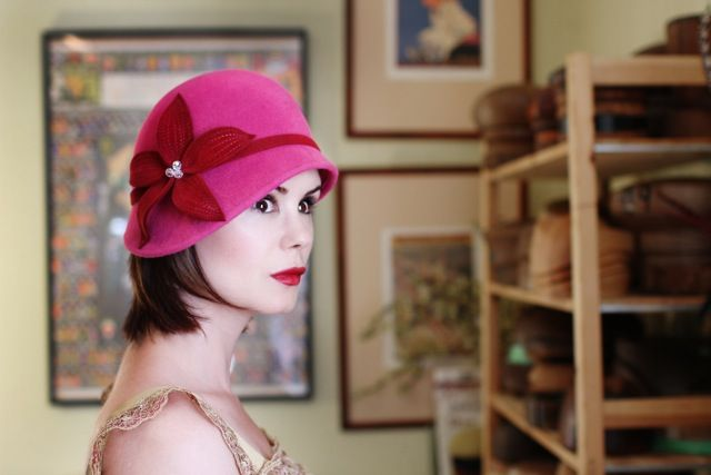 Keegan modelling her Daisy cloche design. Each hat is made by hand in my millinery atelier in Vancouver, BC.