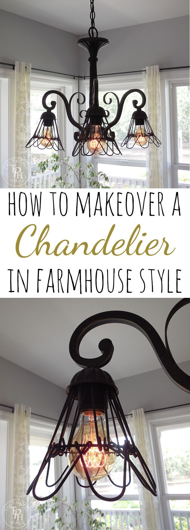 How To Makeover A Chandelier In Farmhouse Style! Easy DIY tutorial to makeover a boring old chandelier in eye-catching farmhouse style!