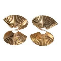Tiffany & Co. Fluted Wave Gold Clip-On Earrings