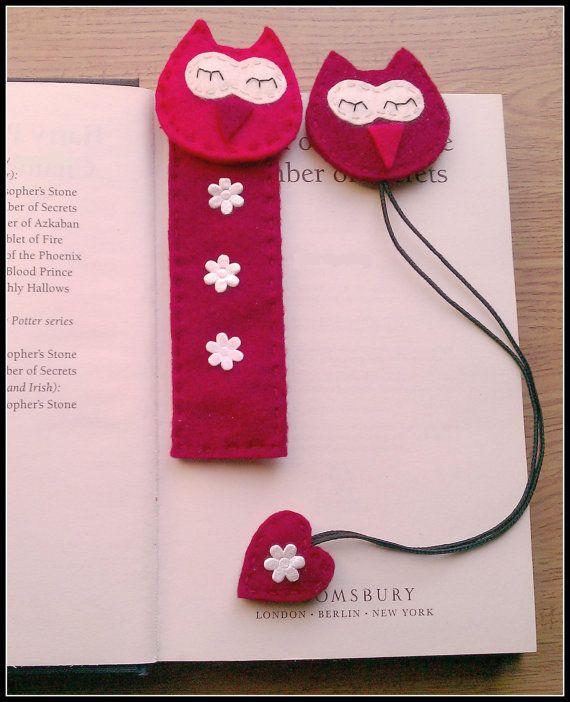 Felt Bookmark .Red  Owl felt bookmarks gift set. Back to school .