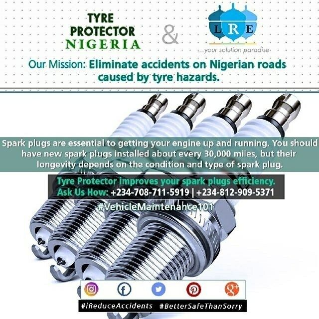 regram @lereliefenterprise regram @tyreprotectornigeria #iReduceAccidents #VehicleMaintenance101#BetterSafeThanSorry  Your engine's spark plugs deliver the electric spark that ignites the cylinder's fuel/air mixture. In other words, spark plugs are essential to getting your engine up and running! Like other parts in your car, spark plugs age and break down over time. Most auto manufacturers recommend having new spark plugs installed about every 30,000 miles, but spark plug longevity depends…