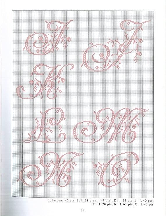 italic flowery alphabet cross stitch