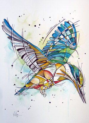 Sacred NZ Kingfisher art by www.fiona-clarke.com