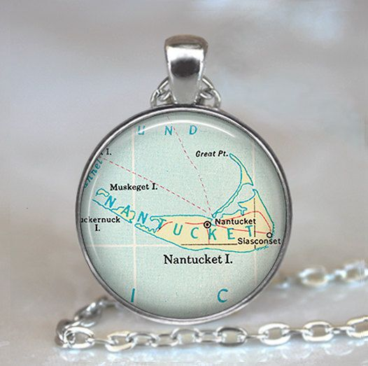 Nantucket map pendant Nantucket necklace by thependantemporium