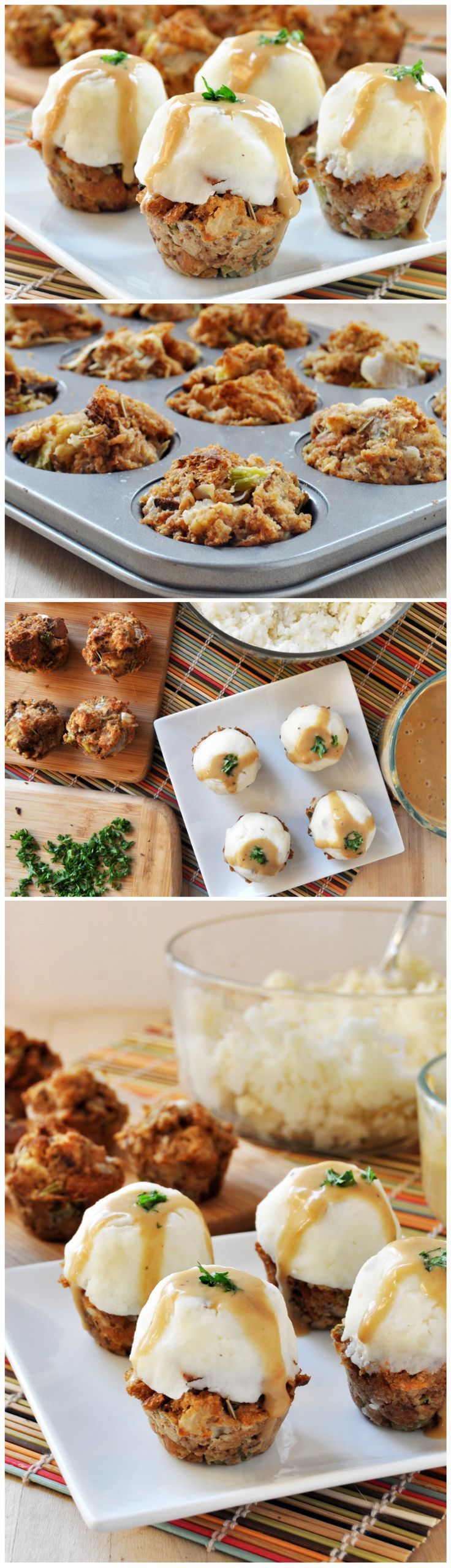 Thanksgiving Stuffing Muffins topped with mashed potatoes and gravy for a bite-sized sampling of everyone's favorites on Thanksgiving Day! Vegan, gluten free, and perfect for Fall.