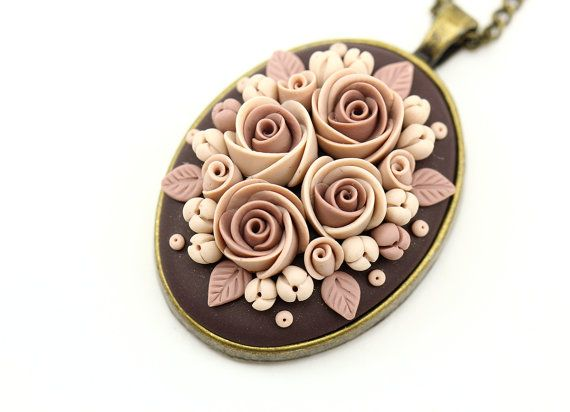 Polymer clay necklace pendant Polymer clay jewelry by KittenUmka                                                                                                                                                                                 More