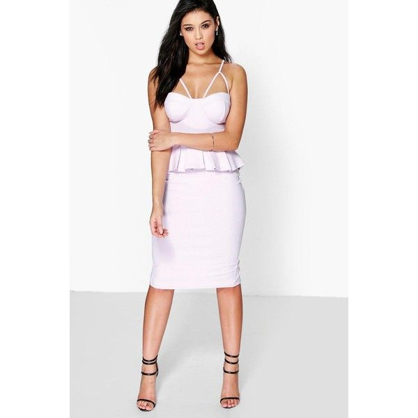 Boohoo Night Gwyneth Strappy Bodice Peplum Dress ($35) ❤ liked on Polyvore featuring dresses, violet, party dresses, sequin cocktail dresses, sequin maxi dress, white dress and maxi dress