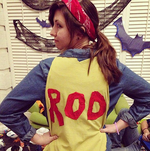 This costume is 2 legit. 2 legit to quit. Dress up as Rod (from the cult classic Hot Rod) by wearing denim on denim, a red bandana headband, and a yellow cape (which can easily be a blanket you wrap around your neck). Make sure to do some crazy stunts all day.