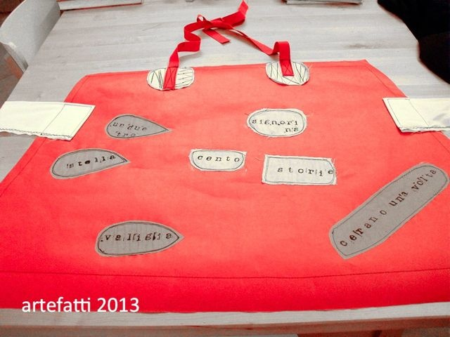 paper apron for a reading workshop - artefatticlod for Associazione Artincanti