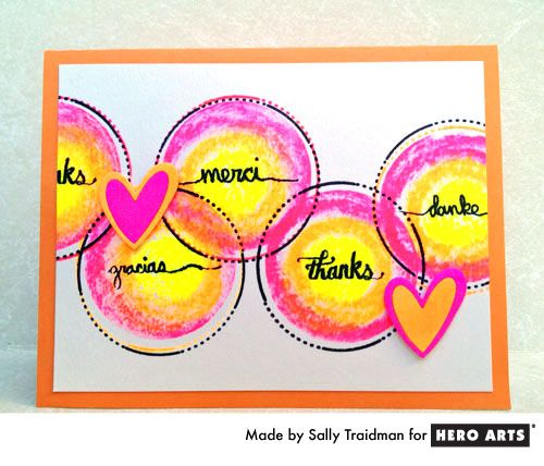 Hero Arts Cardmaking Idea: Neon Thanks - stamp 331479 Sundrifter Love This
