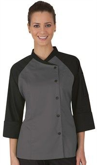 Women's Contrast Raglan 3/4 Sleeve Chef Coat - Snap Front Closure - 65/35 Poly/Cotton Fine Line Twill