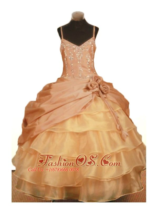 Elegant Hand Made Flowers Little Girl Pageant Dresses Ball Gown Straps Ruffled Layered Beading  http://www.fashionos.com  http://www.facebook.com/quinceaneradress.fashionos.us  The V-cut spaghetti straps gown dress features with the dizzling crytals all over the bodice. The silhouette is amazing with pick ups united by the dimensional flowers and several tiered ruffles below.The corset style bodice is finished with a zipper up back.