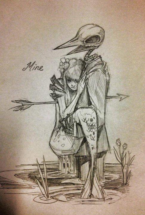 skeleton bird man and cold mermaid (mine)